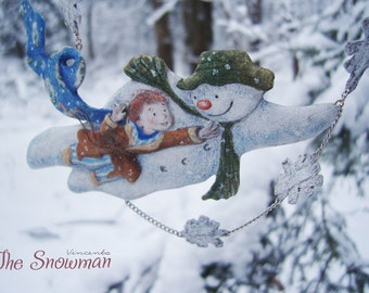 """Raymond Briggs """"The Snowman"""". Winter necklace based on the cartoon and the book - Snowy childhood."""