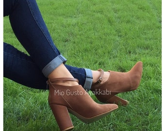 LUCY Tan Ankle Boots/Boots/Shoes/Women Shoes/Booties