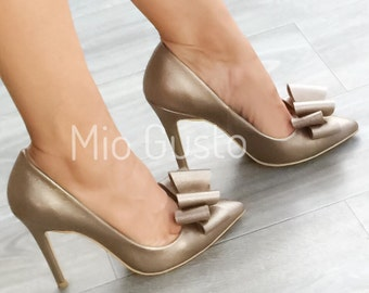 PAPILLON Bronze Pumps With Ribbons/ pumps / bronze / heels / high heels/ high heeled shoes/ ribbons