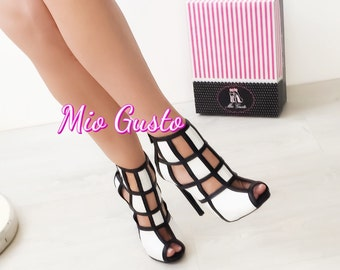 Black and White Caged Booties/ Pumps/ High Heels/Shoes/Black/White