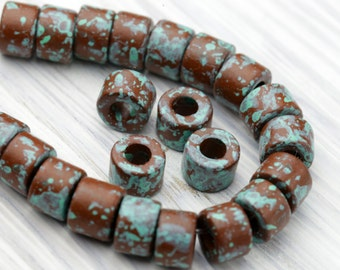 20 Pc Mini Tubes, Spacer Beads, Earthy Jewelry Supplies, Copper and Green Patina, Greek Ceramic Beads, Mykonos, 6 x 4 mm – MK157