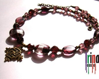 Sale Zgarda. Ukrainian traditional necklace. Glass beads and cross. Lampwork