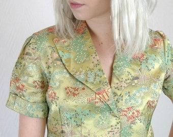 Super Cute Vintage 70's Chinese Satin Brocade Jacket Top