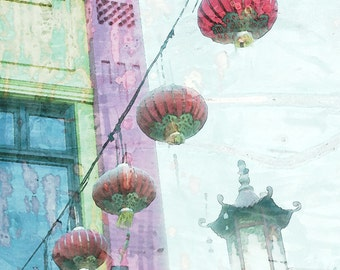 Watercolor Chinatown San Francisco Chinese Hanging Lamps Architecture Fine Art Photograph Print Photography Vintage Soft Mood Beautiful