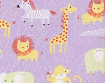 Clothworks Organic Safari Animals in Purple - Organic Quilting Cotton