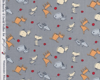 FQ - Boys Will Be Boys by David Walker for Free Spirit - Dog Toss - Quilting Cotton Fabric DW43