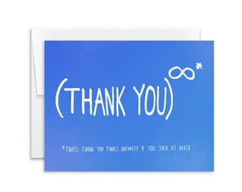 Thank You Card - Thank You Times Infinity Card - Greeting Card - Thank You Note - 151207
