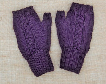 Hand Knitted Men's Fingerless With Thumbs Gloves Wrist Warmers in Aubergine Purple shade pure wool Birthday Gift  Ready to ship from UK