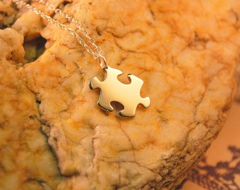 Puzzle Piece Necklace - Dainty Puzzle Piece Pendant Necklace Made in TN USA