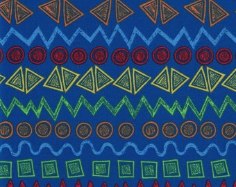 Bright Colored Shapes on Blue Background- Urban Zoo Collection by Galaxy Fabrics