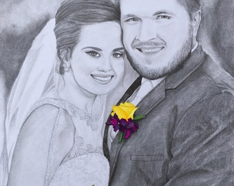 Custom 11 x 14 Pencil Wedding Portrait
