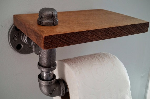 Industrial toilet paper roll holder with walnut stained wood - Scented toilet paper roll holder ...
