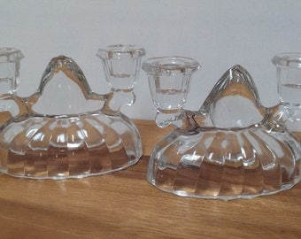 Vintage candlabra clear glass set of two