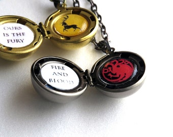 Game of Thrones Locket with House Sigil and Motto