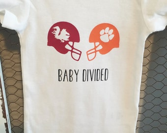Clemson vs South Carolina Baby Divided Onesie (Can Do Other Teams), Perfect for football season!