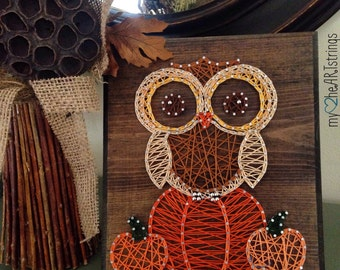 String art owl and pumpkins