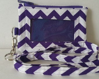 Purple and White Chevron Print Zippered ID/Phone Pouch