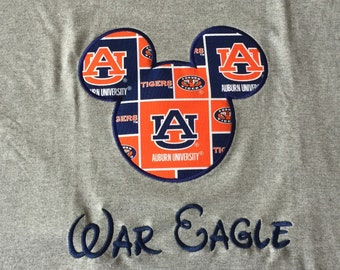 Personalized Disney Mickey Minnie Mouse, Collegiate, Auburn, Alabama, Football, Shirt, Onesie, Dress, name, Applique, Customized,