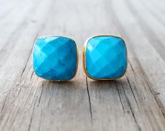 Turquoise Stud Earrings - December Birthstone Earrings - Gold Stud Earrings - Blue Stone Studs - Turquoise Jewelry