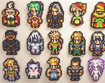 Final Fantasy 6, Perler Bead Art, fridge magnets, FFVI 8 bit pixels, Sabin, Mog, Edgar, Terra, Gau, Cyan, Umaro, Kefka, Celes, Shadow, retro