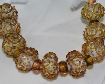 Lampwork Glass Gold Swirl Rondelle Beads