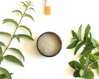 Mint Face Mask  French Green Clay Mask Facial detox , acne prone skin - oily skin , herbal Gift. gift to sister, gift for mom