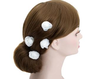 Small White Rose Blossom Wedding Flower Hair Clips, Bridal Organza Flower Silver U Pins