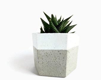 Urban Hexagon Concrete Planter for Succulent Home Decor Grey Planter