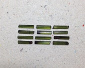 Tiny green tourmaline crystals, raw tourmaline rough gemstone // B*1090