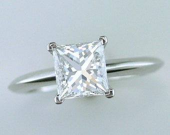 Tiffany & Co. 1.52ct F-VVS2 Princess Cut Diamond Solitaire Platinum Engagement Ring