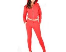 Women's Biker Style Fleece Hoodie Jacket and Jogger pants