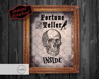 Fortune Teller Sign - Halloween Printable - Instant Download Print / DIY