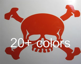 Skull n Crossbones Vinyl Decal / Sticker *Available in 24 Colors*