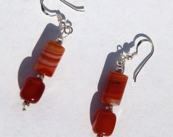 Freeform Orange and White Agate and Silver Beaded Sterling Silver Earrings, No. 800