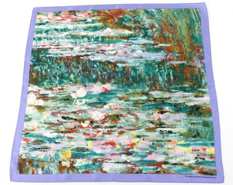 100% Silk Monet Bridge over a Pond of Water Lilies Neckerchief  Bandana Small scarf Petite scarf