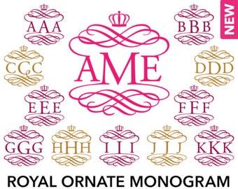 Royal Ornate Monogram Alphabet - SVG, Studio3, EPS, DXF - Personal Vine Interlocking Monogram Font, Cut files for Cutting Machines