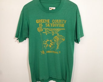 Vintage 80s Paper Thin Skydiving Bardstown KY T Shirt Medium/Large