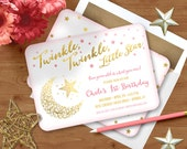 Twinkle Twinkle Little Star Birthday Party Invitation, Gold, Girl - PRINTED 5x7 or Digital  / Choice of Quality Paper / Free  Shipping
