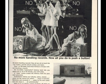 """Vintage Print Ad October 1968 : Seeburg Adiomation Stereo System Sexy Girl Wall Art Decor 8.5"""" x 11"""" Advertisement"""