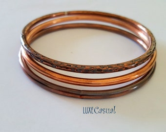Copper Bangle Bracelets Thick Gauge Copper Bracelets Stacking Bangle Bracelets Set of Bangles