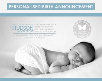 Birth Announcement, Custom Printable Birth Announcement, Boy Birth Announcement, Blue Birth Announcement, Baby Boy, Boy Birth