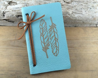 Genuine Leather Notebook with Feather Graphic/ FREE SHIPPING / Notebook with Graphic/ Blank Leather Notebook/ Leather Journal