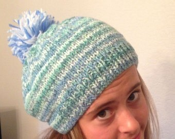 Wool and Acrylic Beret slouch Pull on Hat Greens nd Blues
