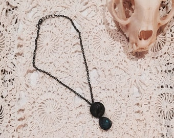 SALE!!! Antique Black Button and Green Teardrop pendant necklace on Black Chain