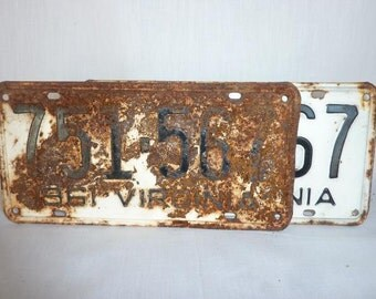 Vintage 1961 Virginia PAIR License Plates