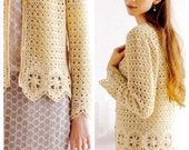 Crochet Pattern PDF for Ladies Cardigan with Motif Edging in Japanese, Instant Download Women Crochet Pattern