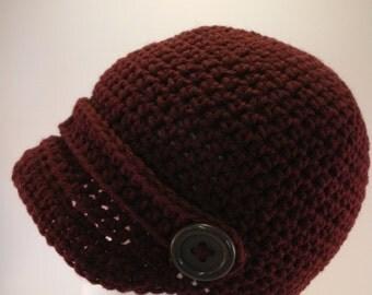 Crochet Newsboy Hat Small Mens Womens Teen Boy Girl Maroon Brimmed Beanie Visor Button Newsboy Cap Hats