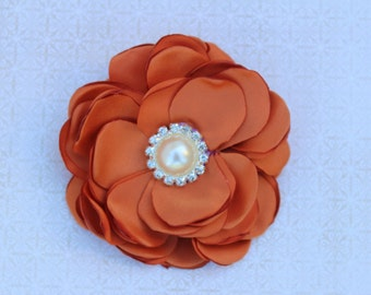 Burnt orange hair bow burnt orange flower girl headband dark orange wedding bows headband dark orange flower clips toddler orange hair bows
