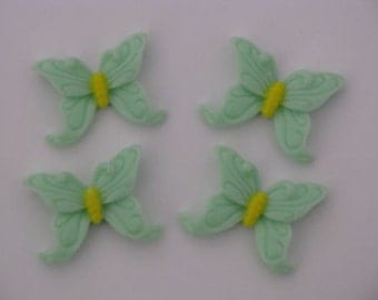 green butterfly resins cabochons flatbacks scrapbooking card making 4 per packet