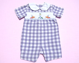 vintage house of hatten inc boys romper with smocking size 6 months see measurements purple white check nautical design piping